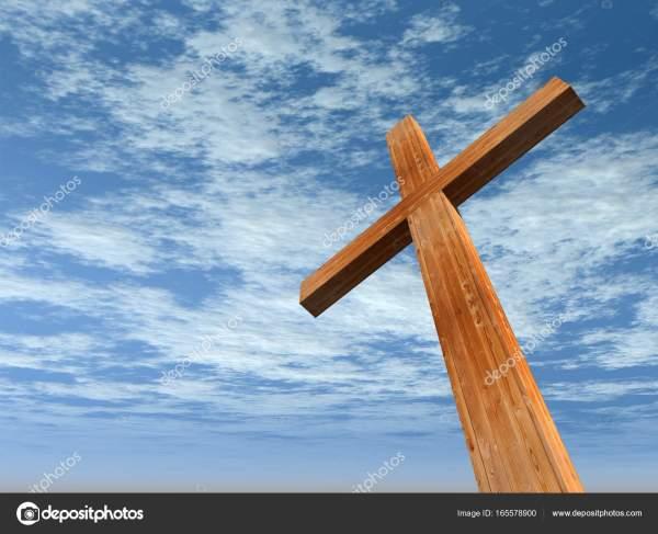 Высокое разрешение христианский крест из дерева на ...
