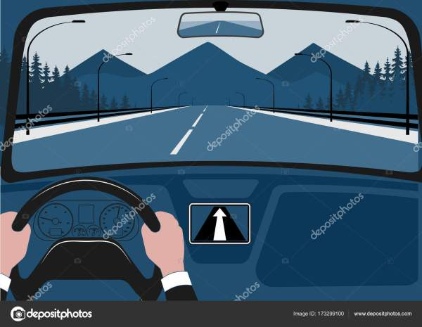 Человек после руля автомобиля, вид из салона векторные ...