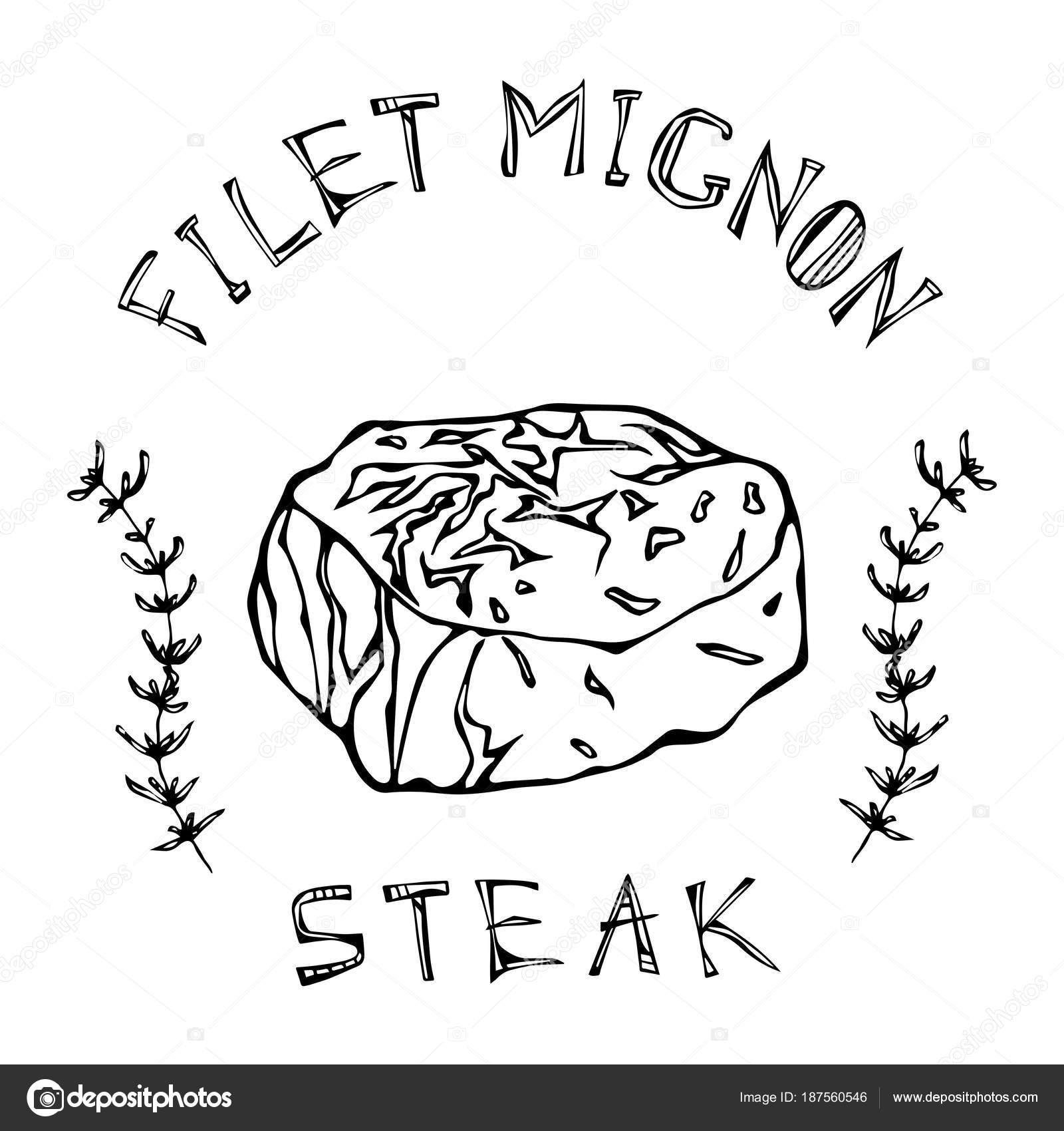 Filete Mignon De Ternera Carne Cortada Con Letras En S Tomillo Hierba Marco Guia De Carne Para