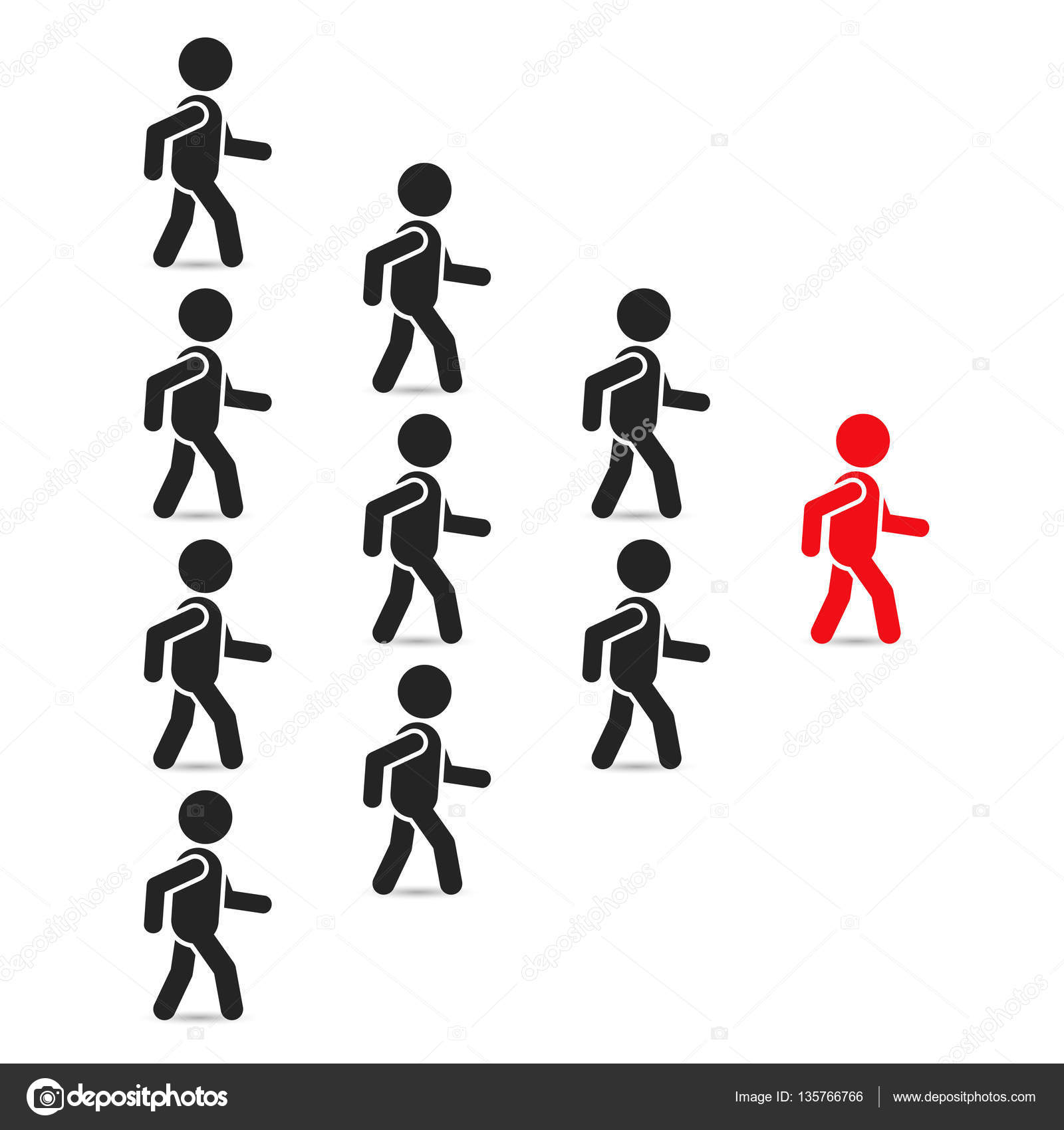 Leadership Business Concept With Crowd Following Behind