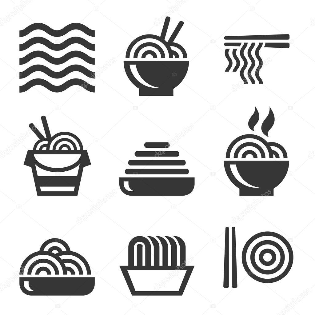 Iconos De Los Tallarines Bar De Comidas Asiaticas Logos