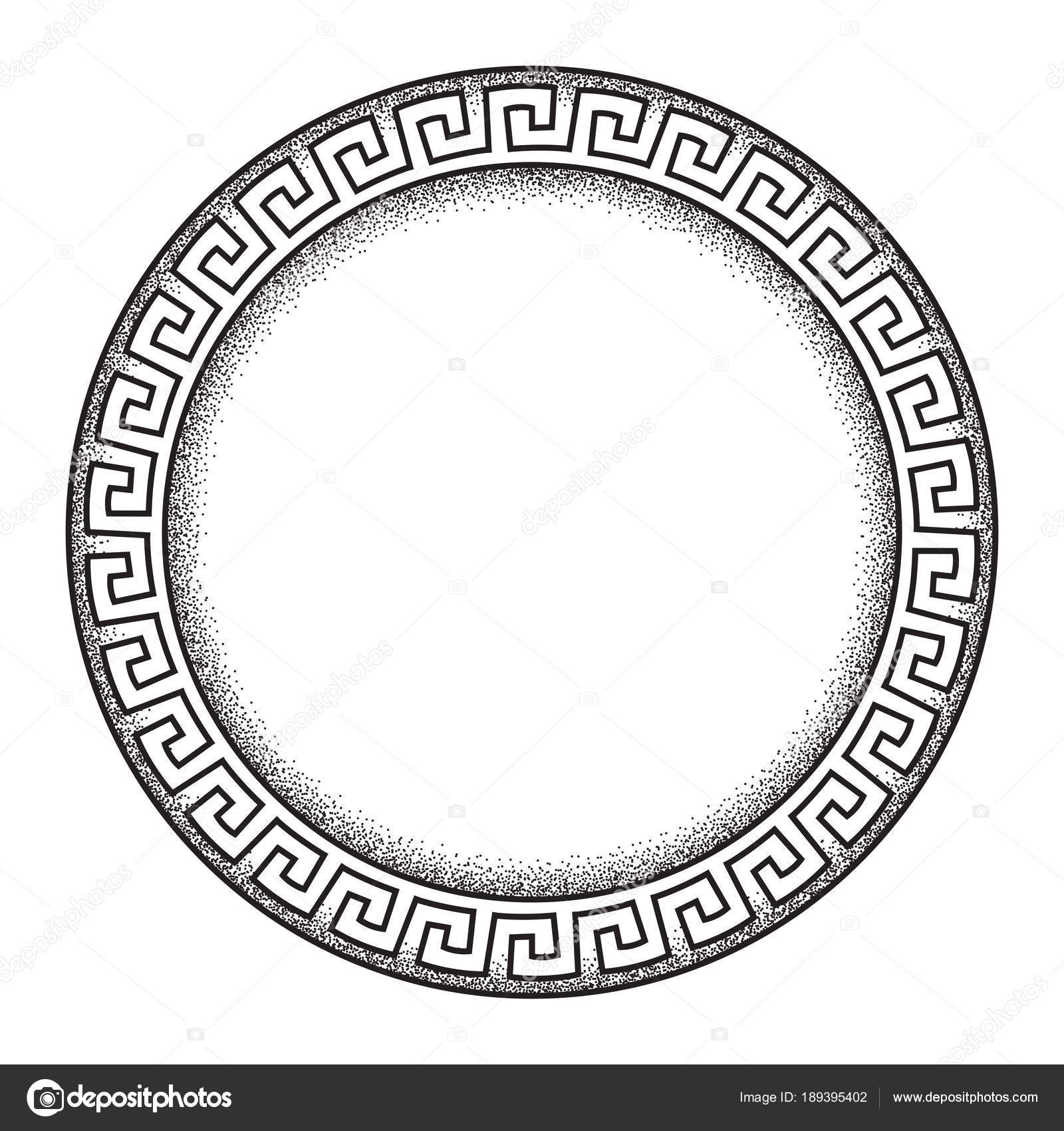 Antique Greek Style Meander Ornanent Hand Drawn Line Art