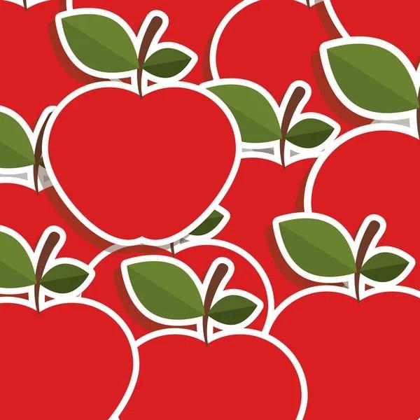 Яблоки кавайи фрукты шаблон, установленный на декоративных ...