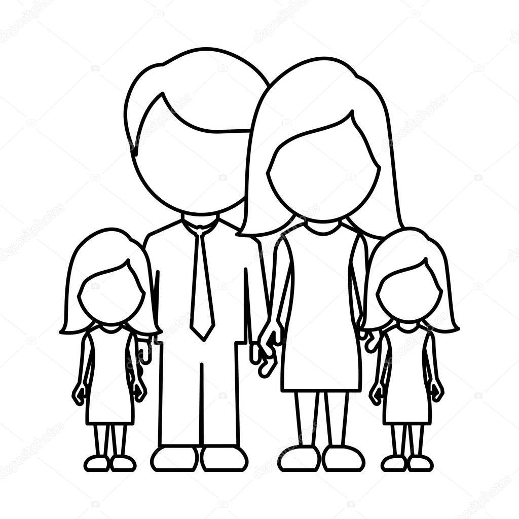 Monocromatico Contorno Sem Rosto Com Pai Mae E Duas Filhas