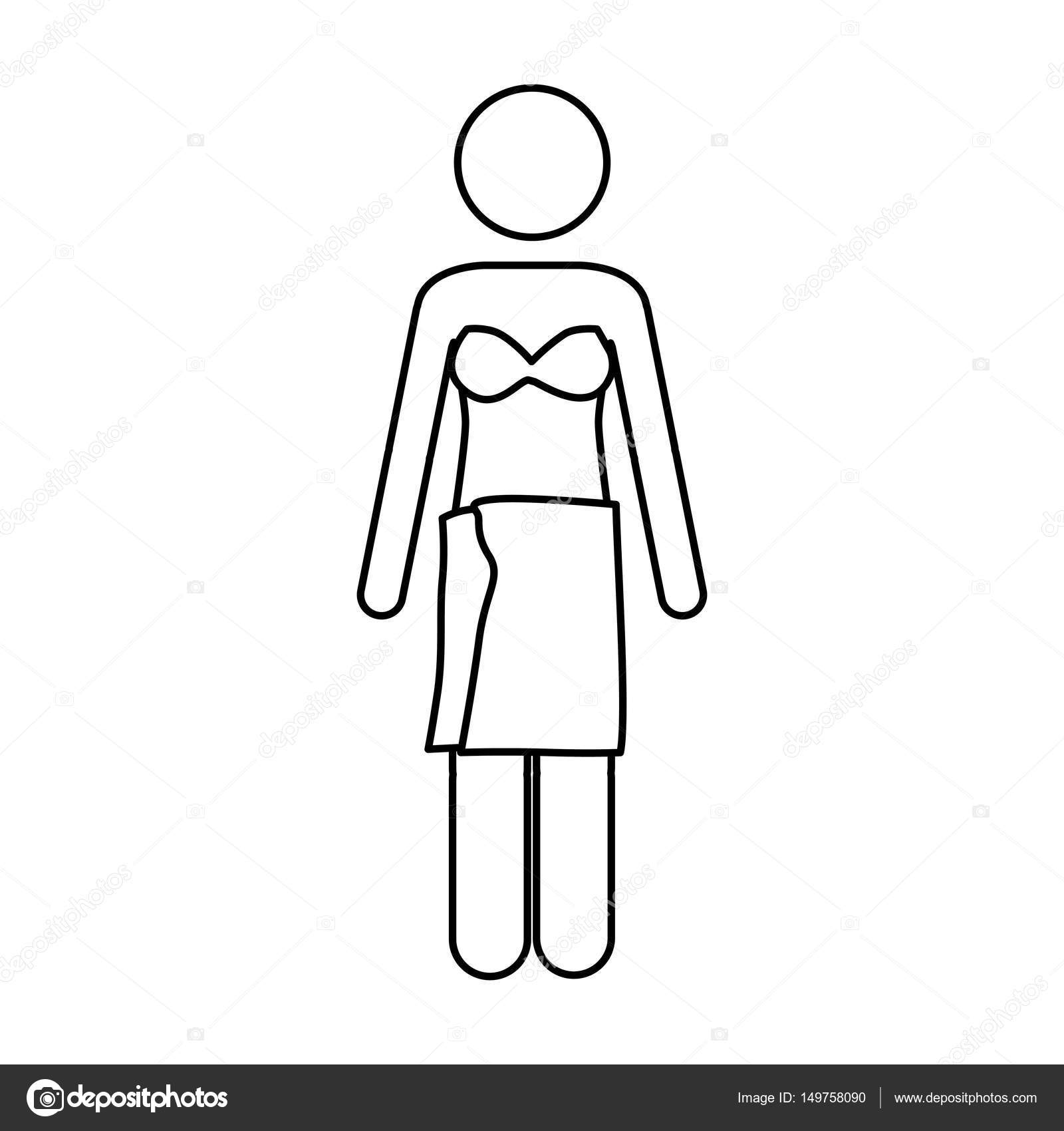 Monochrome Contour Pictogram Of Woman In Bikini With Towel