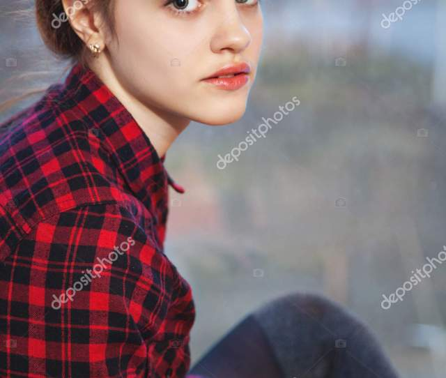 Sweet Teen Girl With Tuft Of Hair Stock Photo