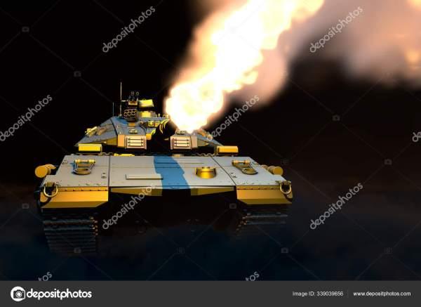 Серый танк с дизайном, которого не существует, атакующий ...