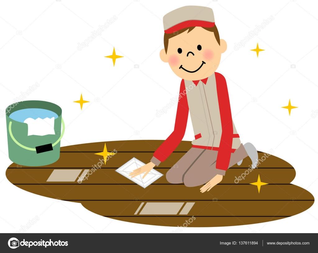 擦地板的人 — 圖庫矢量圖像© studiolaut #137611894