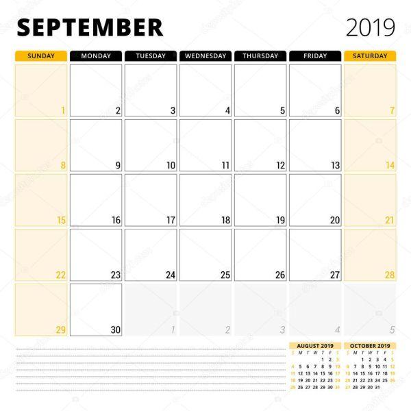 Планировщик календарь на сентябрь 2019. Канцелярские ...