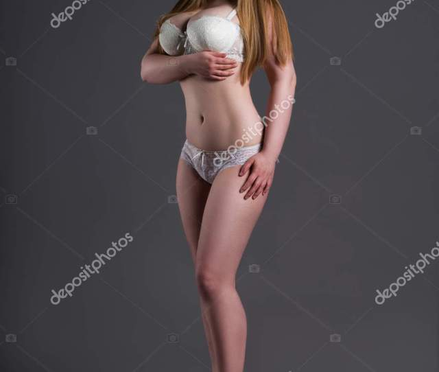 Plus Size Sexy Model In White Underwear Fat Woman On Gray Studio Background Overweight