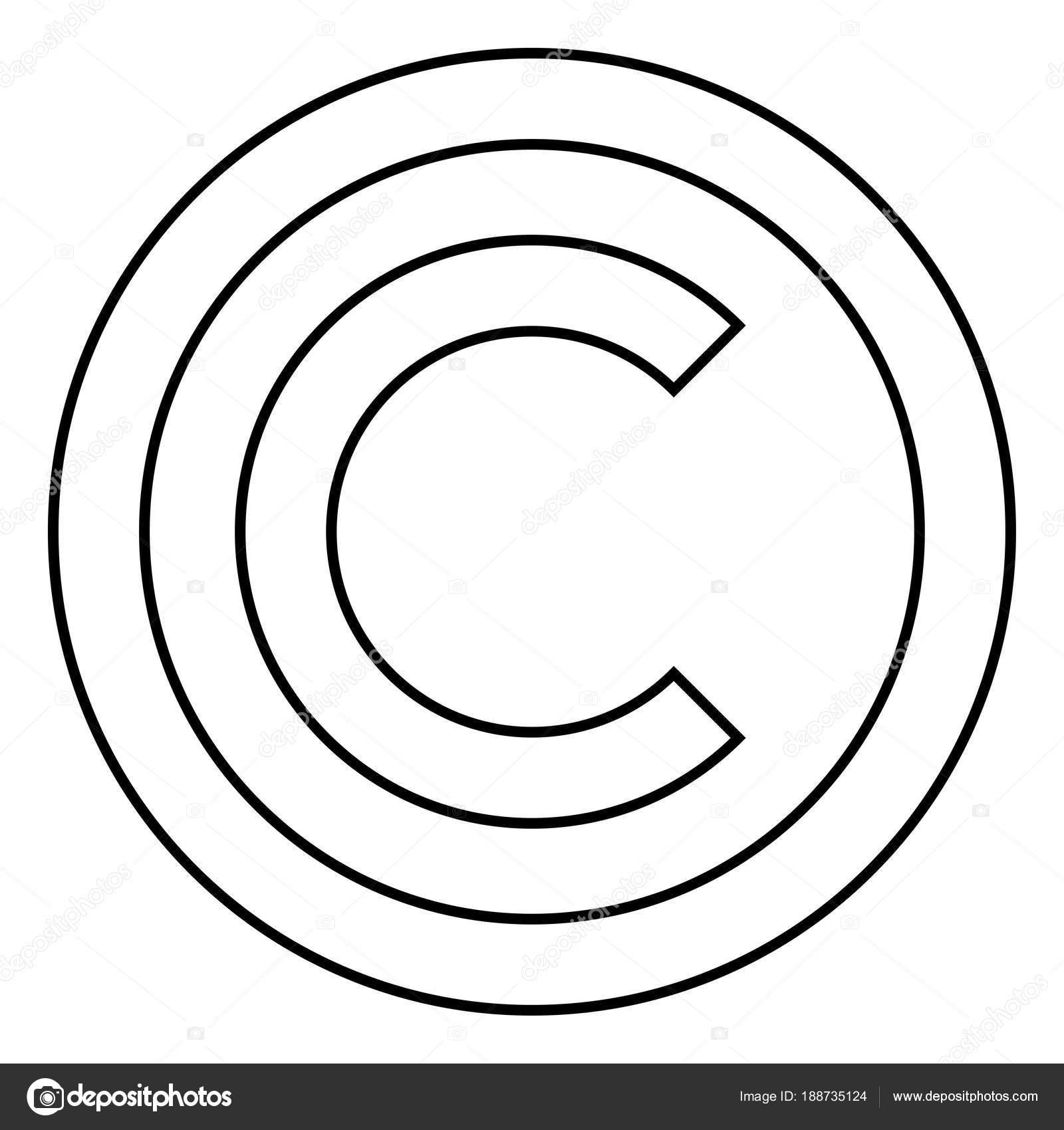 Simbolo De Copyright Icono Negro Color Ilustracion Estilo