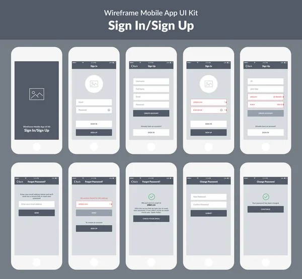 Mobile app wireframe kit      Stock Vector      alexgorka  95362744 Wireframe kit for mobile phone  Mobile App UI design  sign in and sign up