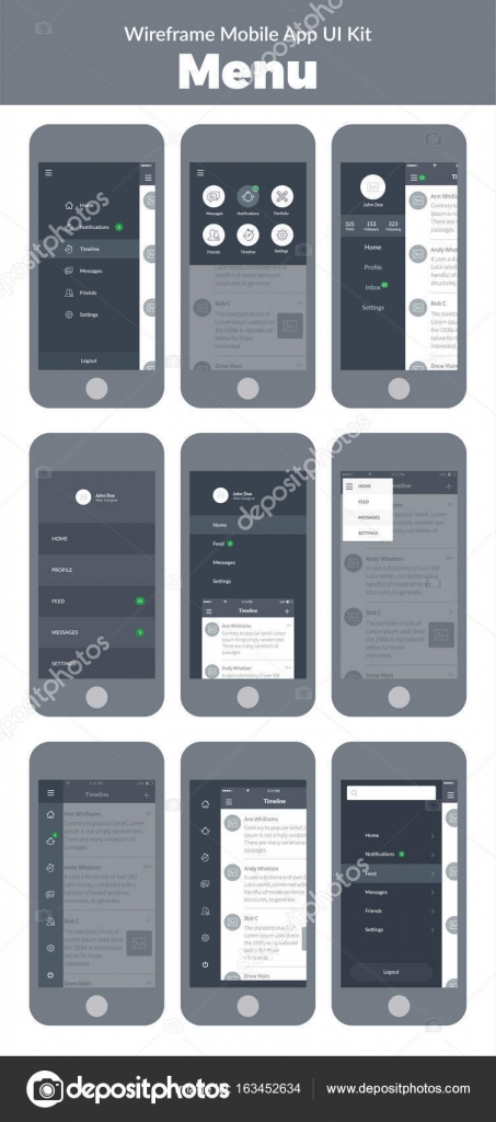 Wireframe UI kit for mobile phone  Mobile App  Menu screens     Stock     Wireframe UI kit for mobile phone  Mobile App  Menu screens     Stock Vector