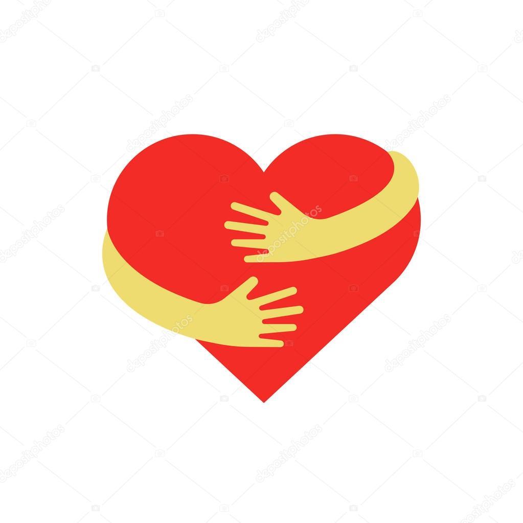 Download Hugging heart symbol. Hug yourself logo. Love yourself ...