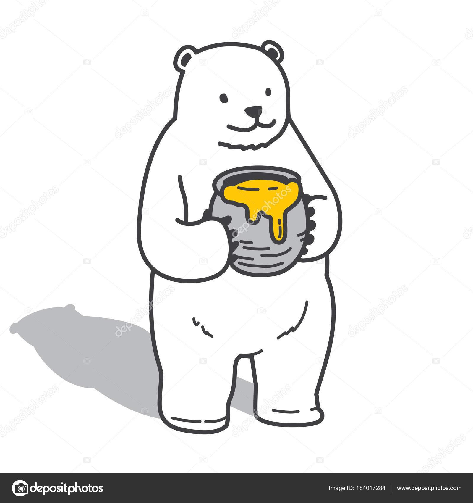 Bar Eisbar Vektor Honig Doodle Symbol Abbildung Charakter