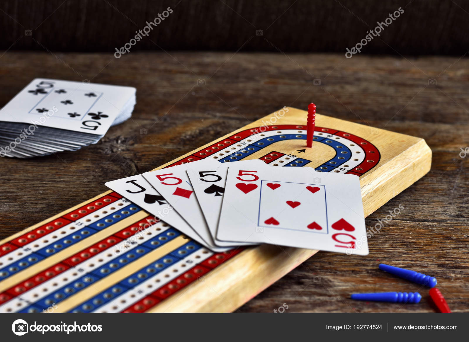 Close Image Wooden Cribbage Board Cribbage Pegs Playing