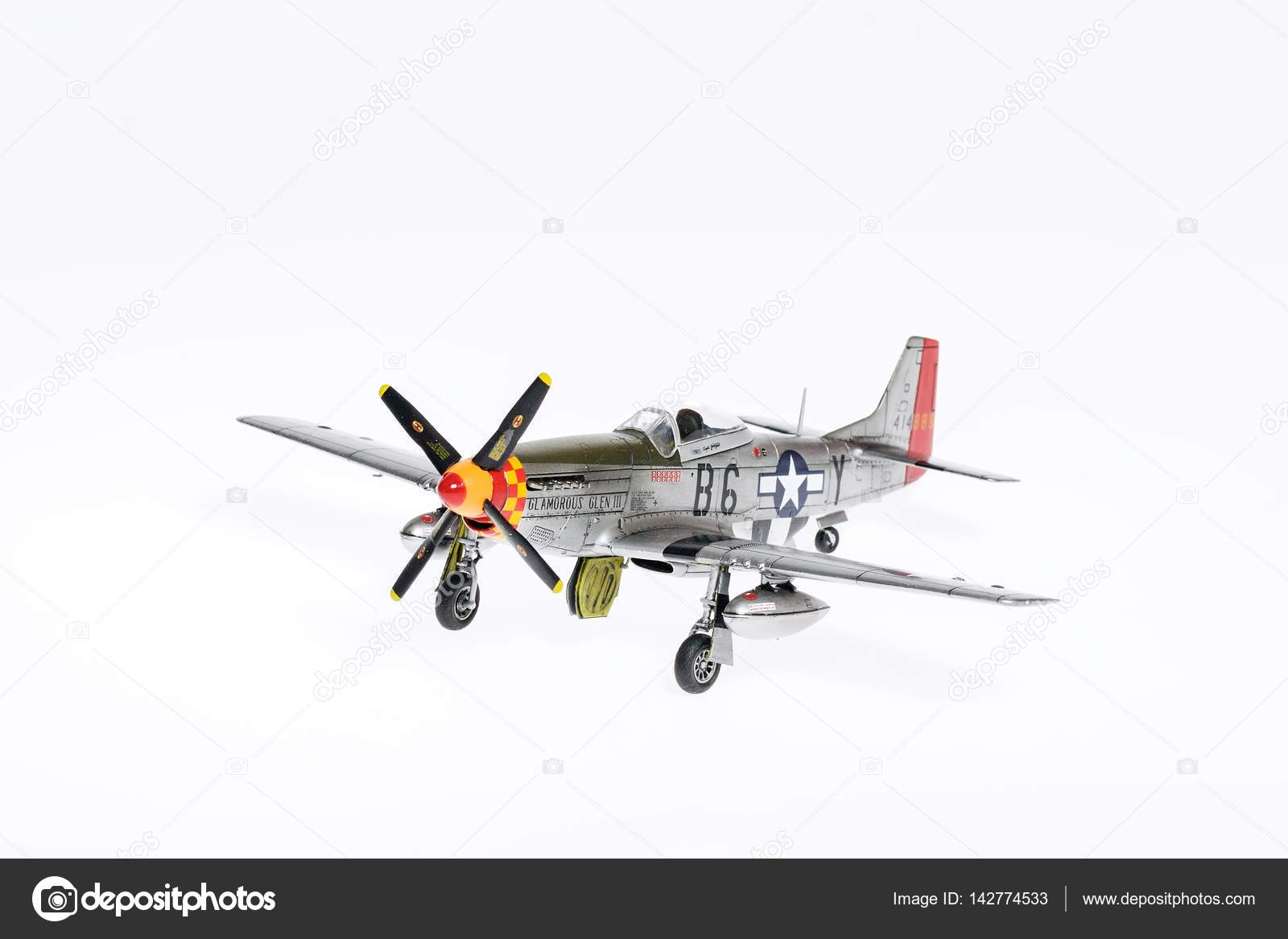 Scale Model Of P 51 Mustang Fighter In Wwii