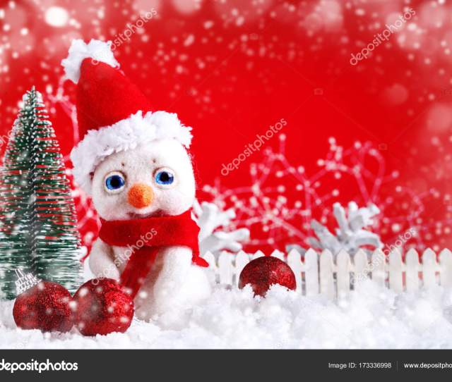 Christmas Winter Background With A Small Snowman And Christmas Ornaments Merry Christmas And Happy New Year Background With Copy Space