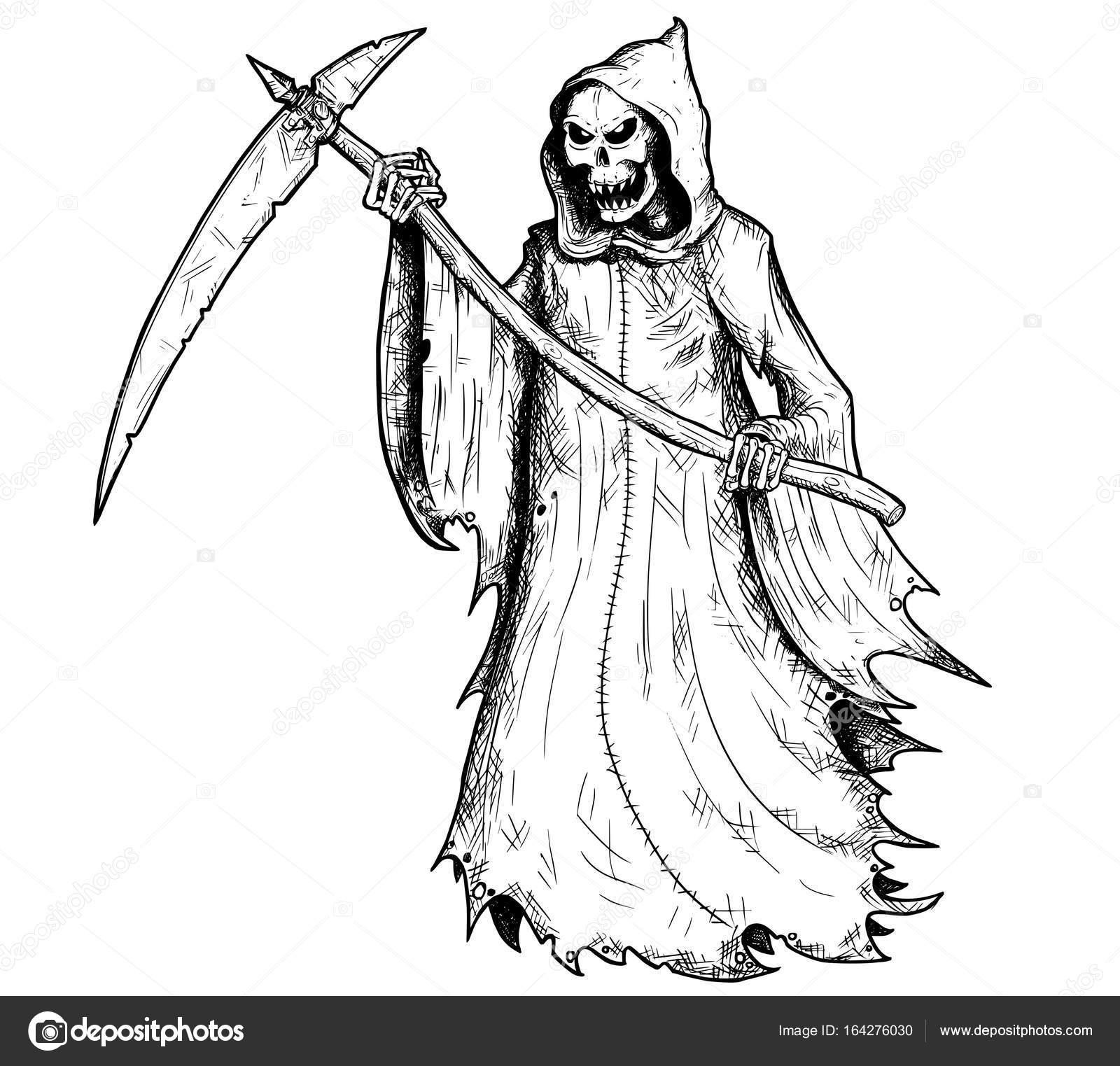 Hand Tekening Illustratie Van Halloween Grim Reaper