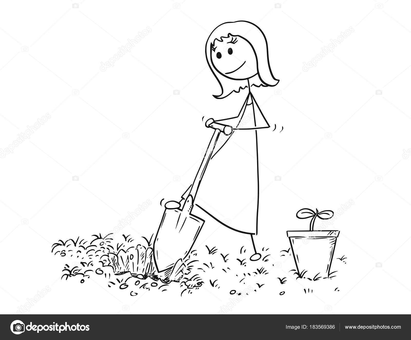 Dibujos Animados De La Mujer Del Jardinero Cavando Un Hoyo