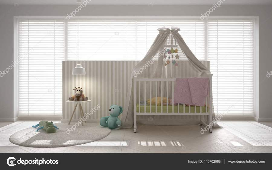 Scandinavian white child bedroom with canopy crib  minimal inter     Scandinavian white child bedroom with canopy crib  minimal inter     Stock  Photo