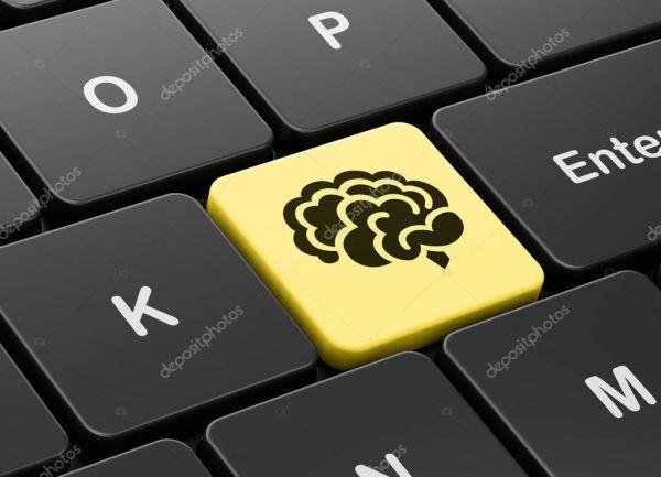 Наука концепция: Мозг на клавиатуре компьютера фоне ...