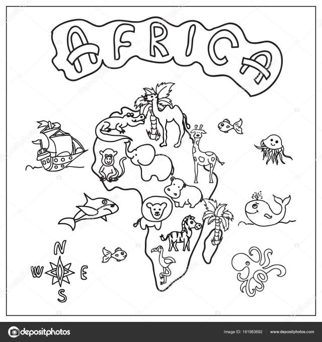 Africa continent kids map coloring page Stock Photo by ©Nuarevik