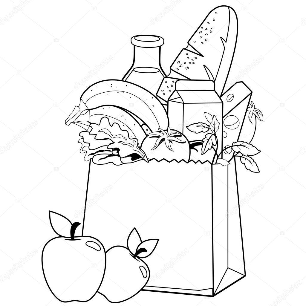 Bolsa Con Comestibles Pagina De Libro Para Colorear
