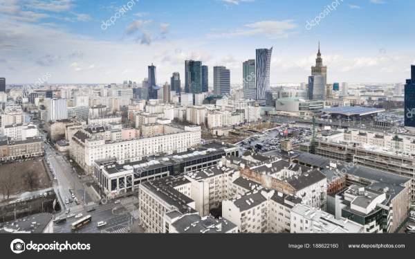 Варшава Польша Января 2018 Беспилотный Воздушный Вид ...