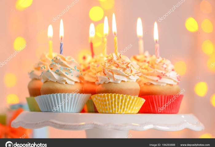 Birthday Cupcakes With Candles Stock Photo Belchonock 184293888