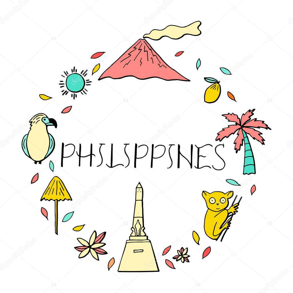 Isolated Vector Icons Of Philippines Culture And
