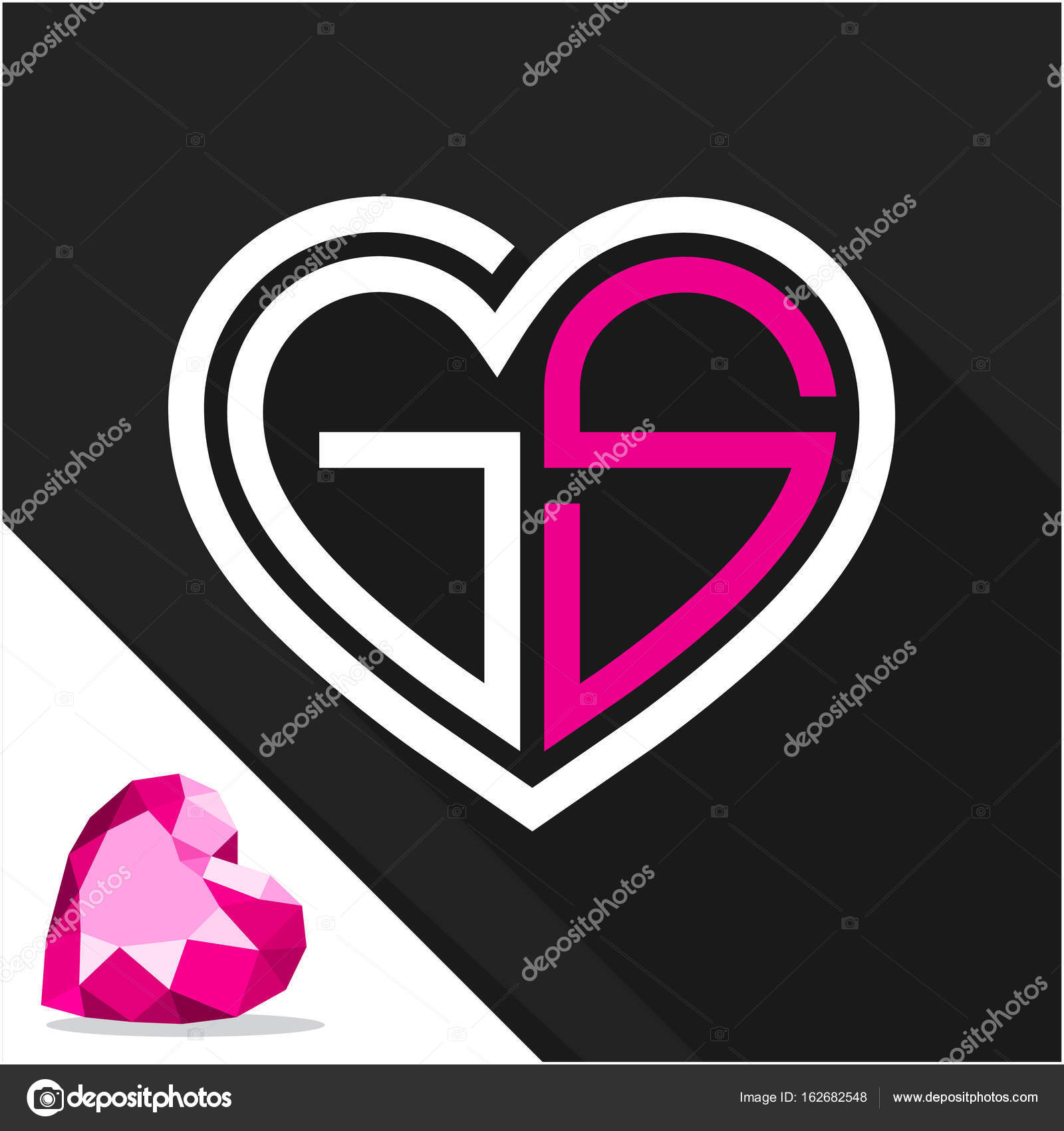 Images G Alphabet In Heart Icon Logo Heart Shape With
