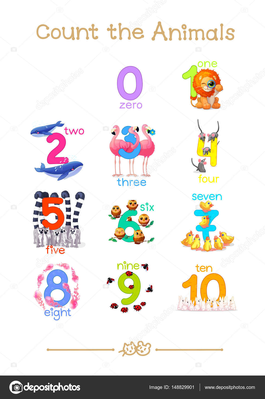 Series Of Count The Animals 0 10 All Numbers In One