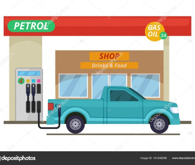 Petrol Or Diesel Station Vector Illustrations In Cartoon Style Stock Vector