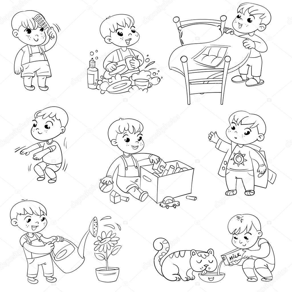 Dibujos Animados Nino Diario Conjunto De Actividades Rutinarias