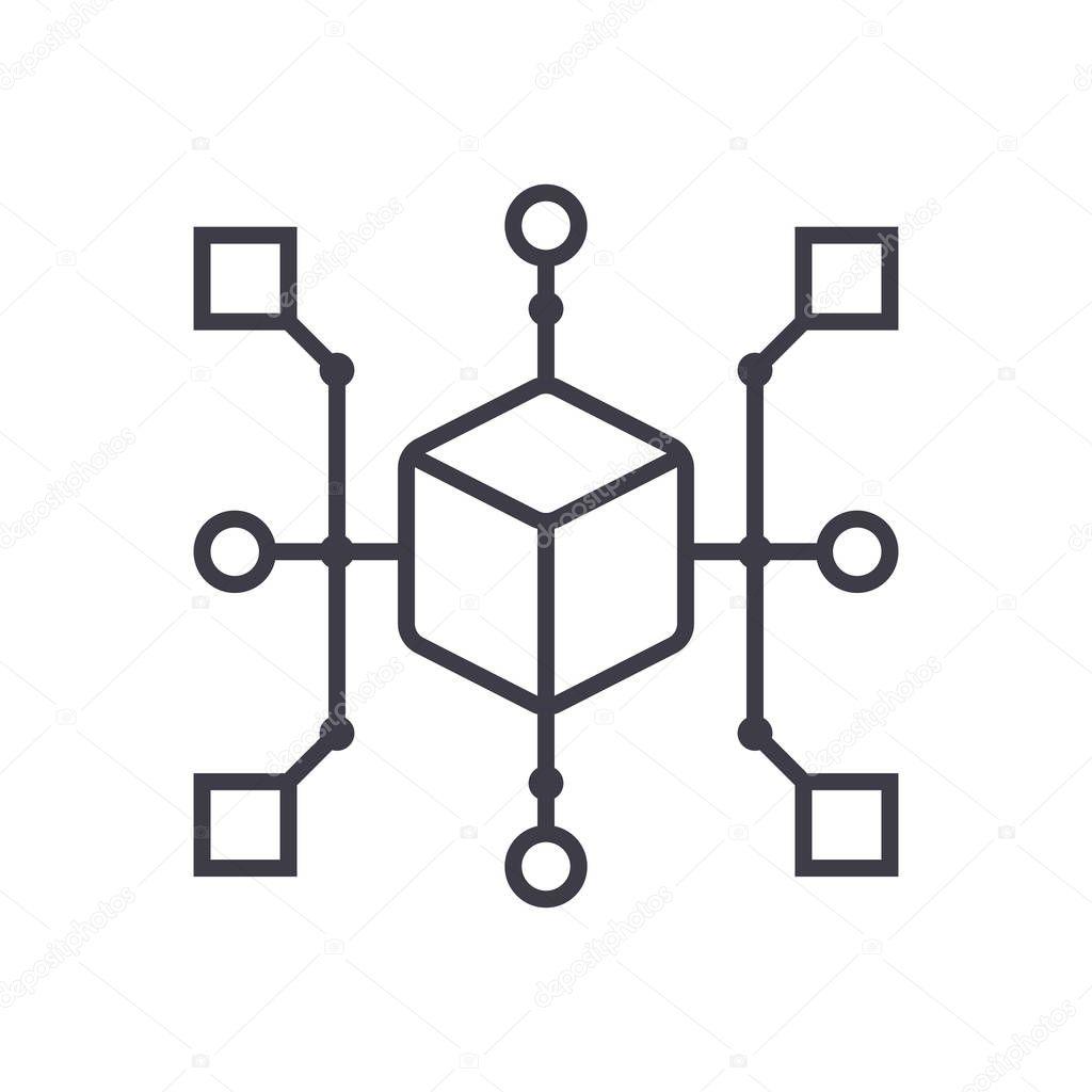 Cluster Diagrama Vector Linea Icono Signo Ilustracion De