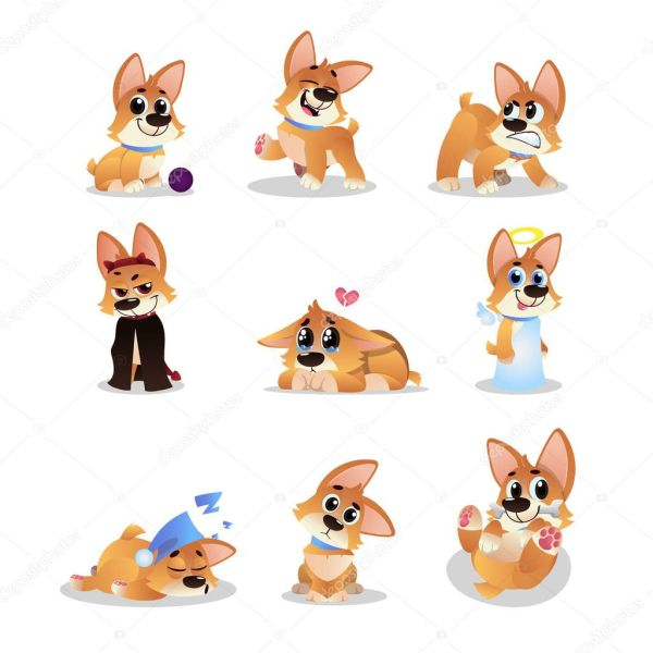 Набор из мультфильма корги. Смешно собачка в различных ...