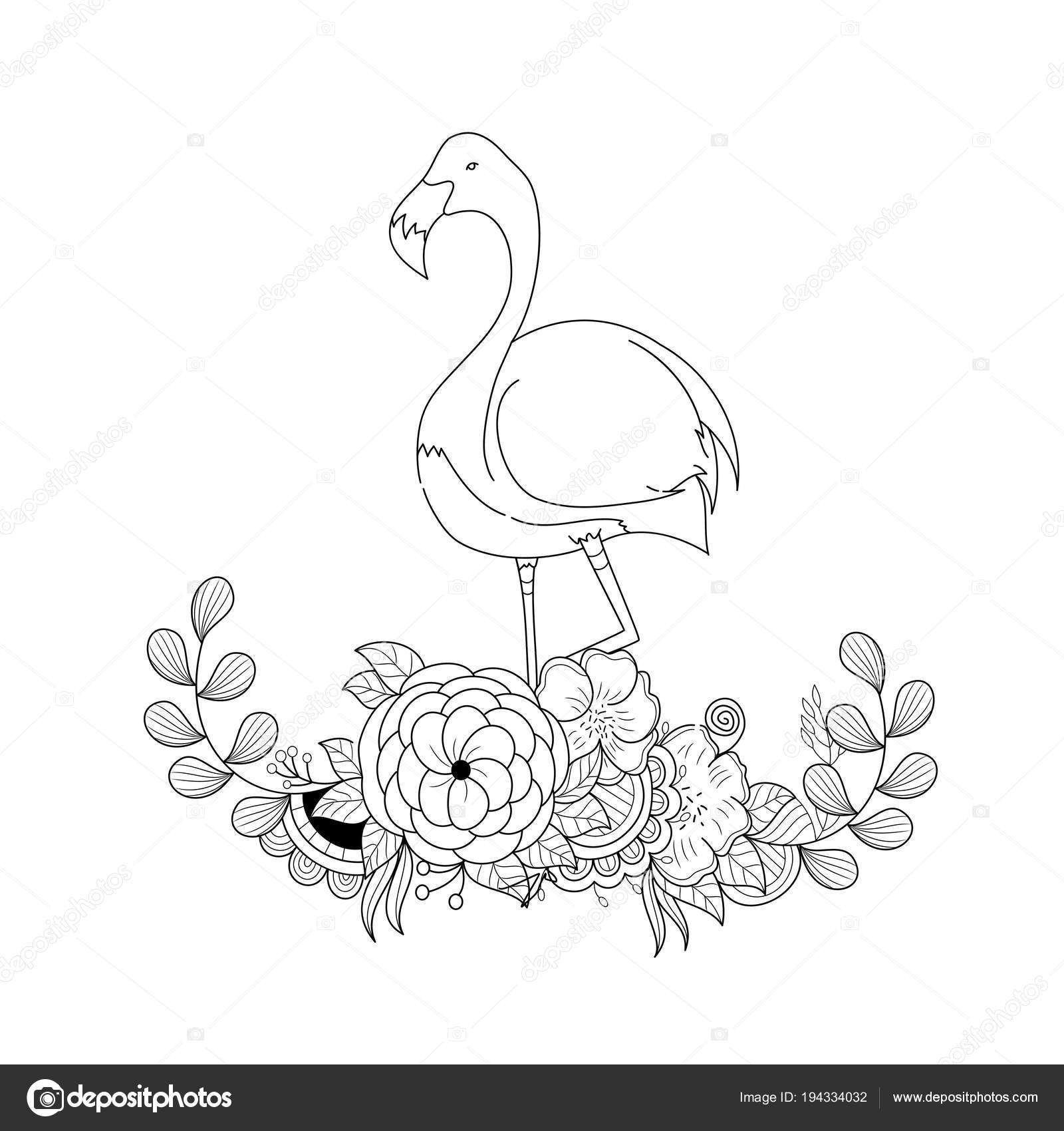 Flamingo Floral Zentangle Adult Coloring Book Page Vector