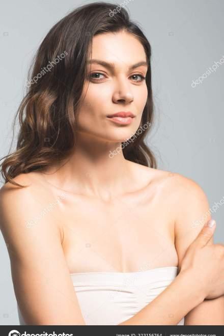 Portrait Tender Beautiful Girl Perfect Skin Isolated Grey — Photo | Depositphotos