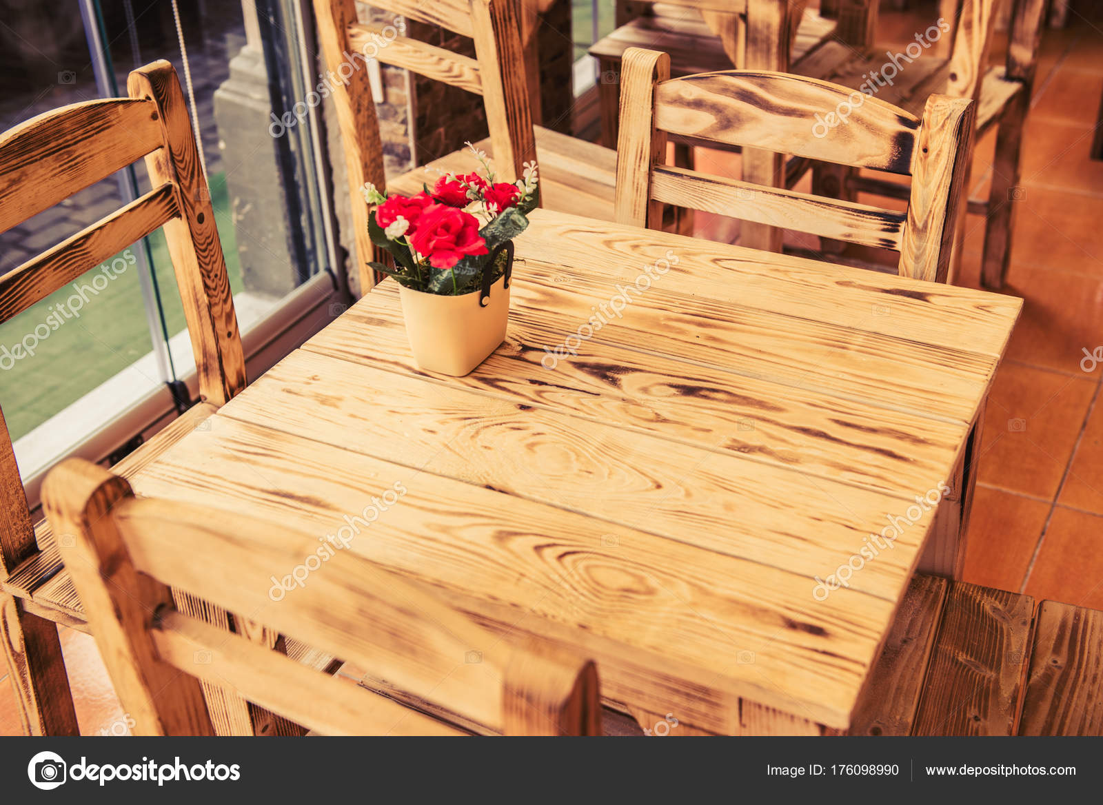 retro vintage view pastel coffee shop wooden tables chairs balat stock photo image by c epicimages 176098990