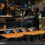 Bar Counter Design Ideas Wooden Tables Lamps Bar Counter Modern Restaurant Stock Photo C Viktoriasapata 190920842