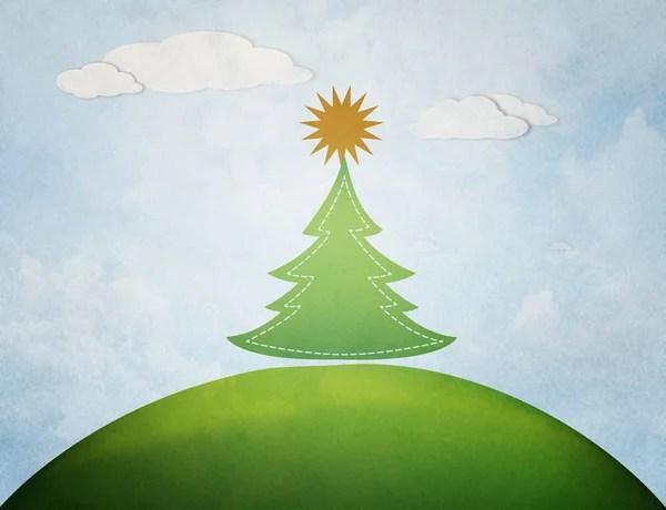 След от трафарета в форме рождественской елки из муки на ...