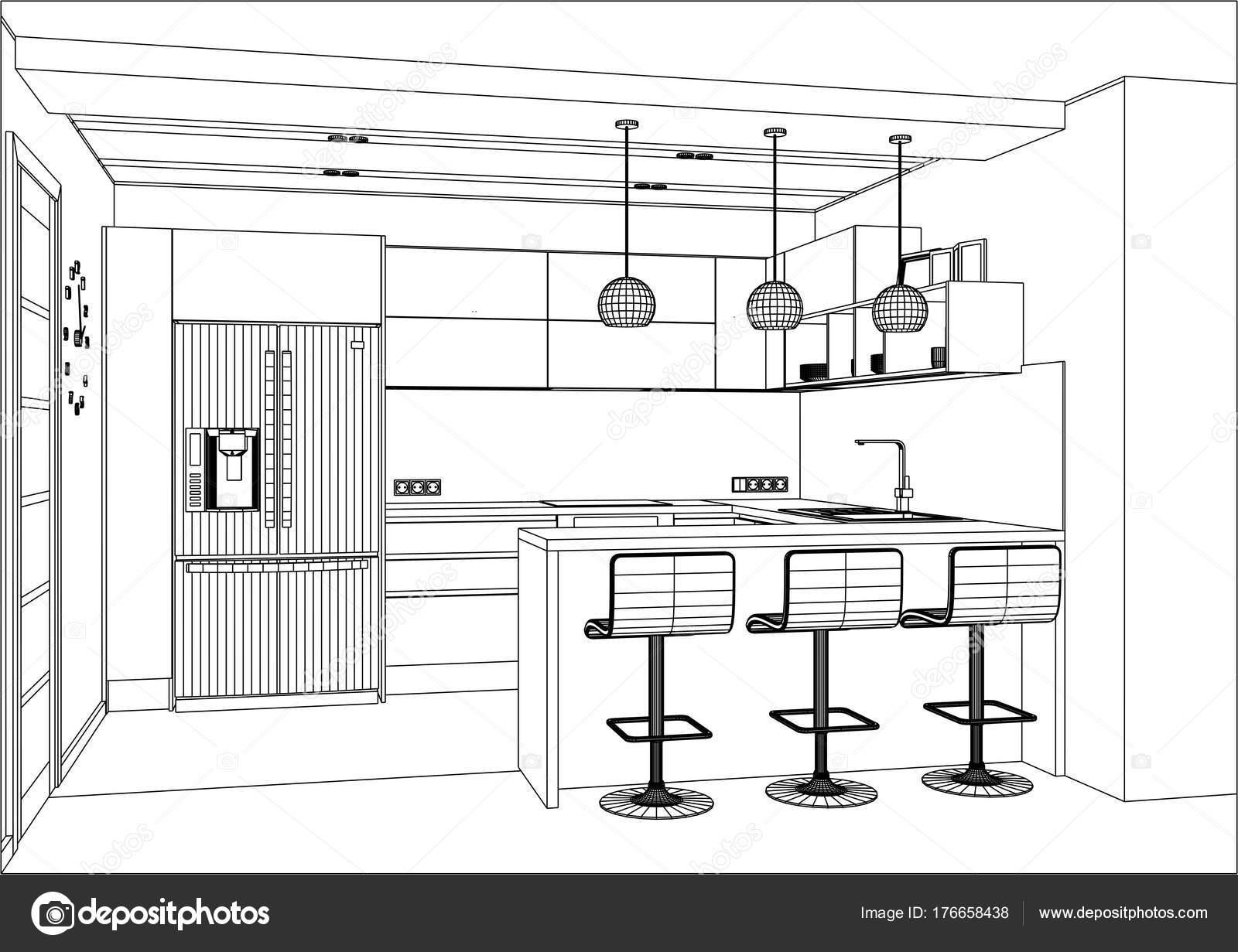 3d Vector Sketch Modern Kitchen Design In Home Interior