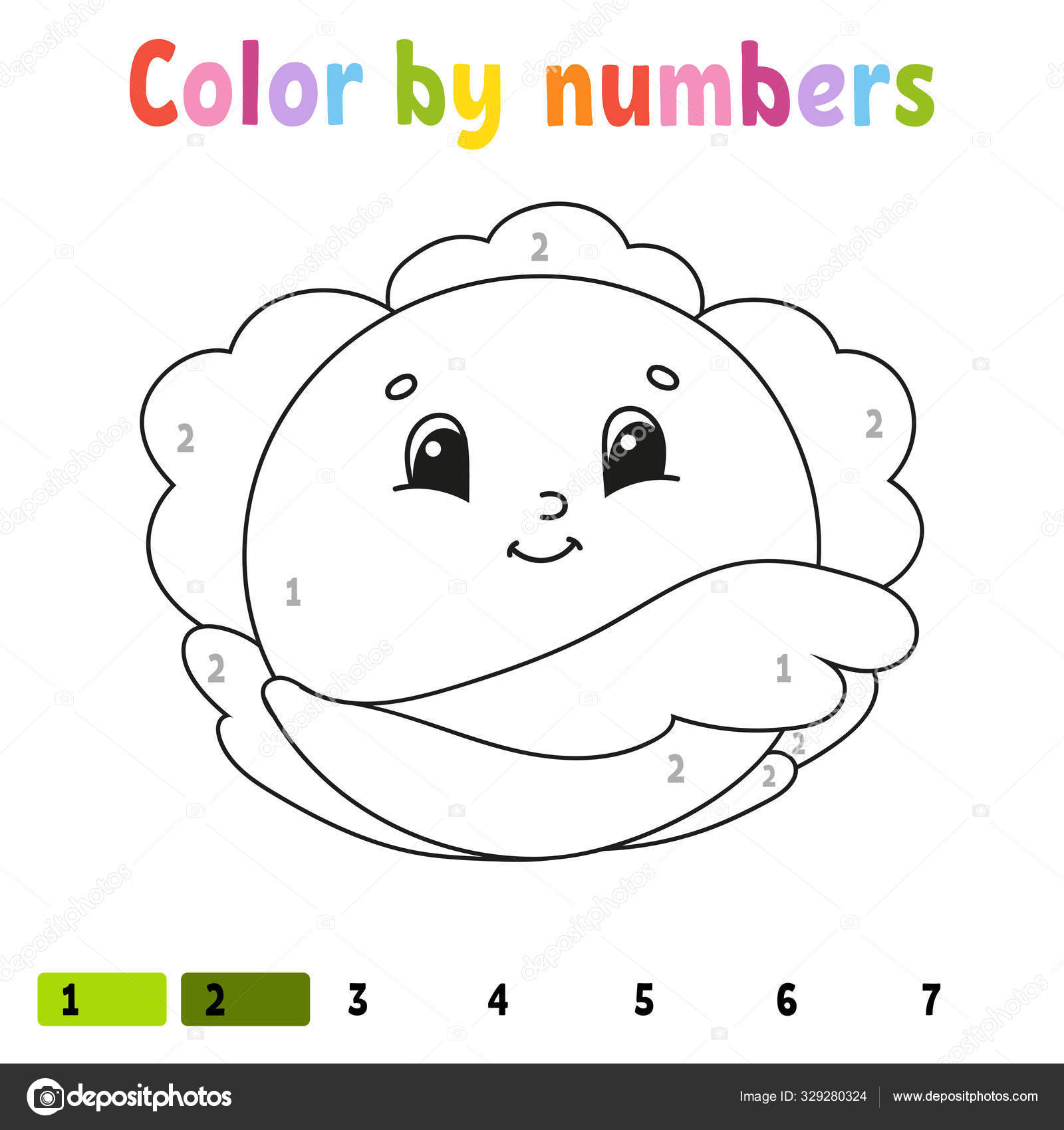 Color By Numbers Cabbage Coloring Book For Kids