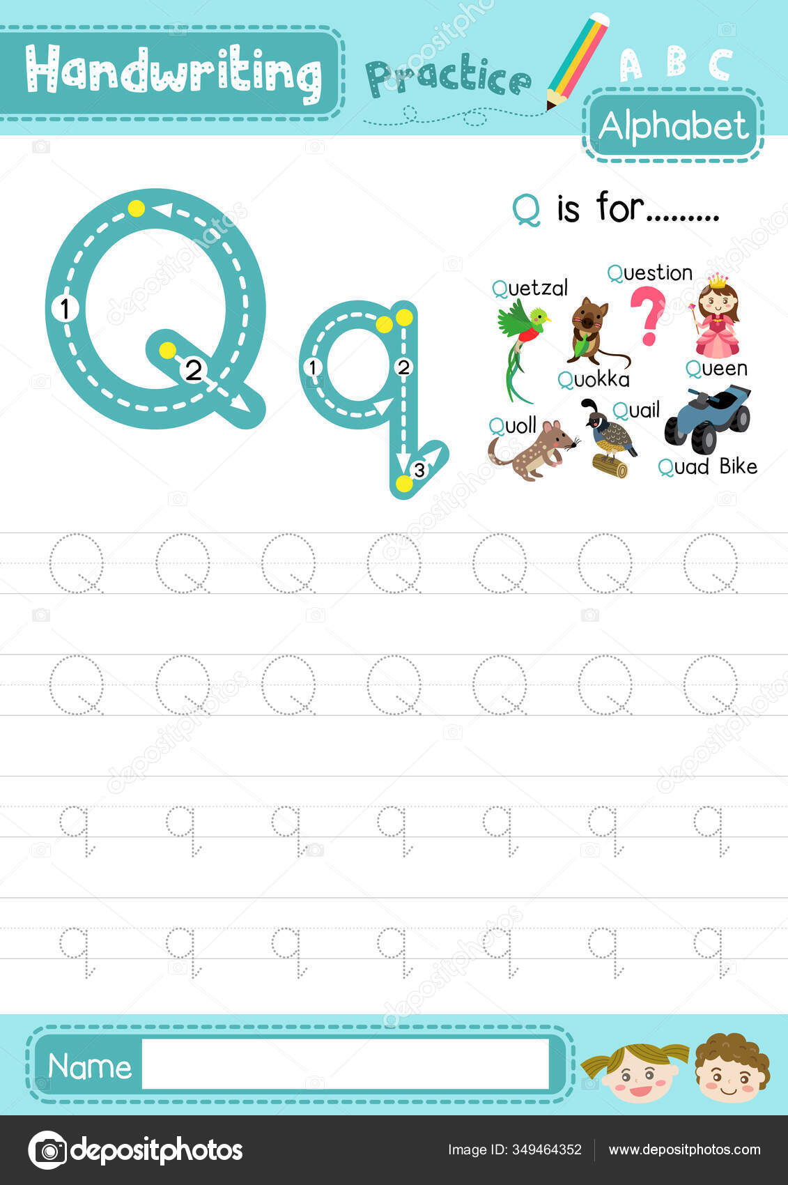 Letter Uppercase Lowercase Cute Children Colorful Abc
