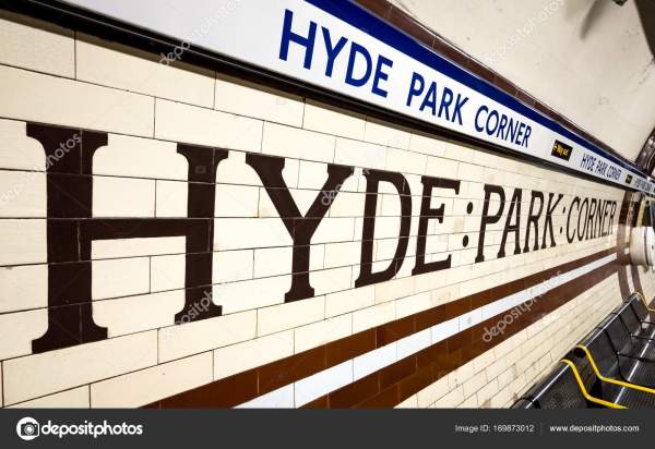 Hyde Park Corner underground station, London – Stock ...