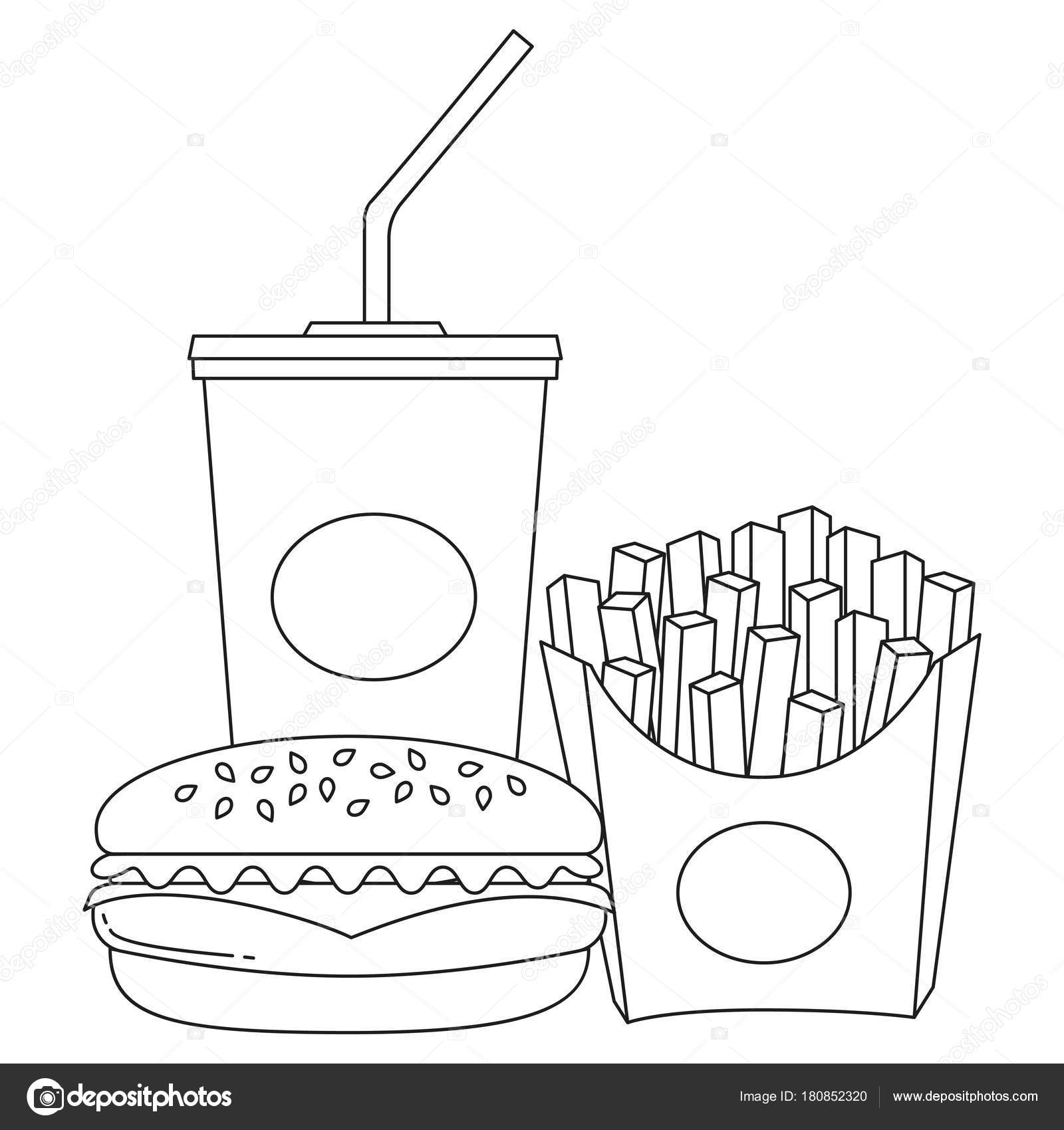 Bianco E Nero Linea Arte Poster Fast Food Soda Hamburger