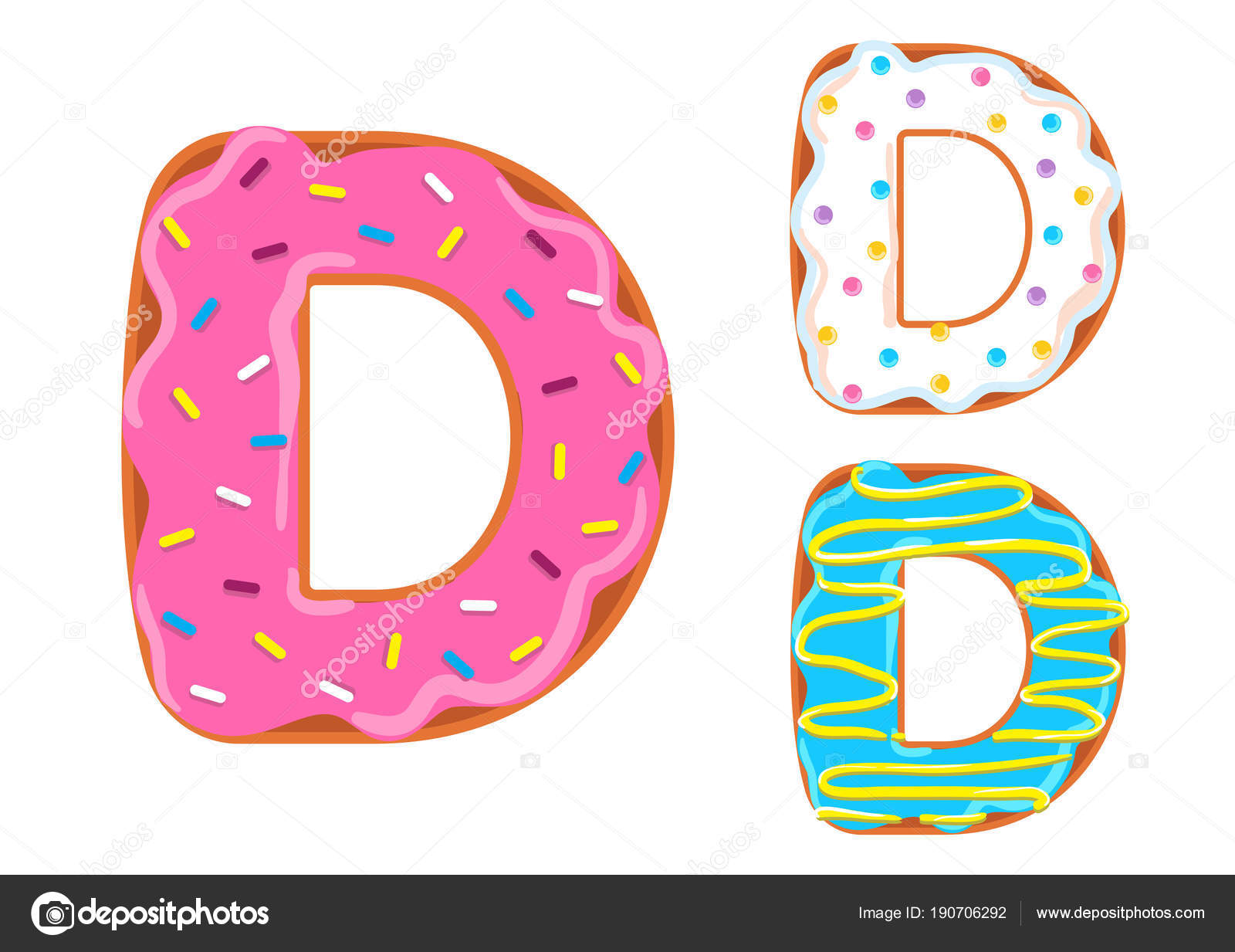 Donut Font Vector Letter D