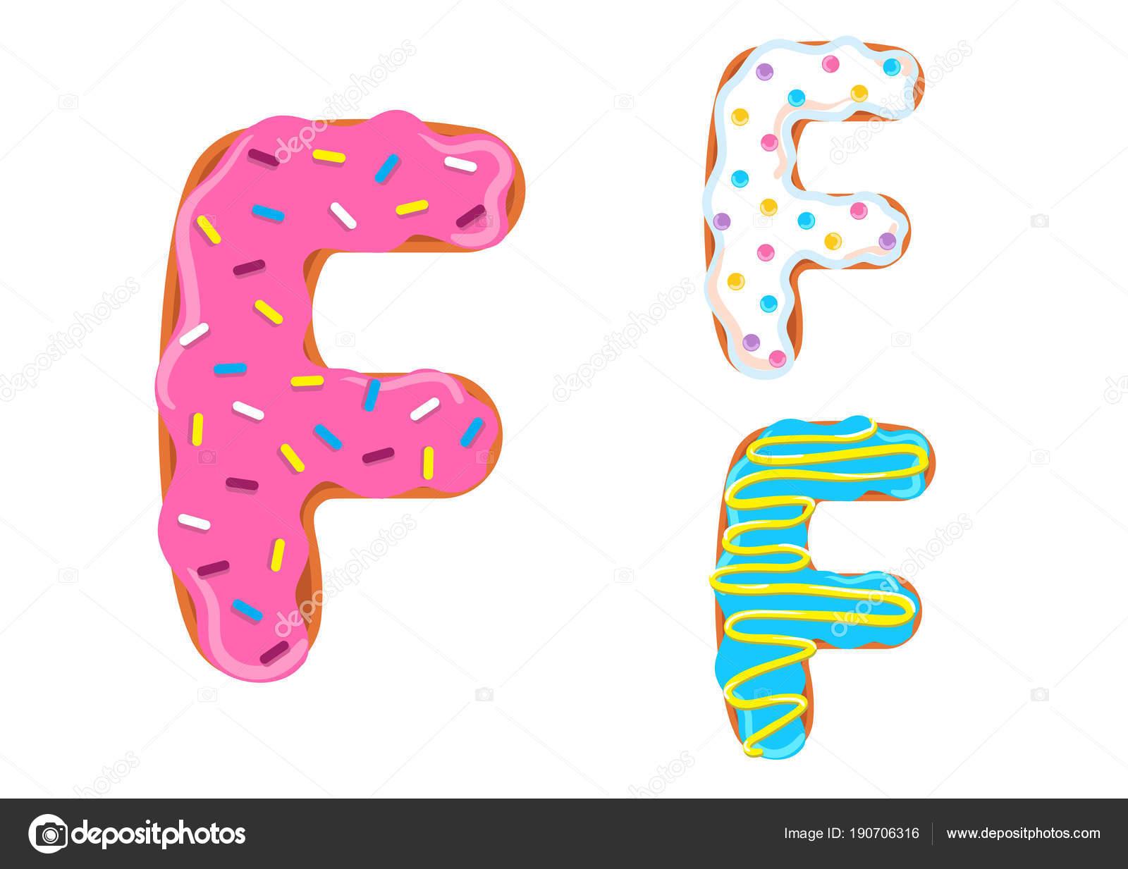 Vector Fuente Dulce Donut Letra