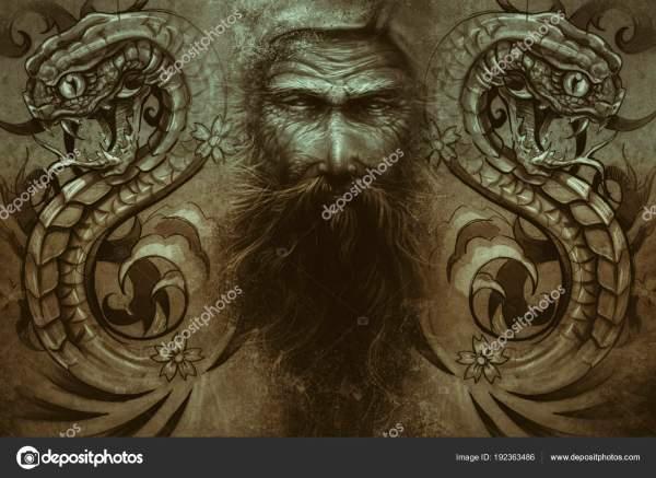 Дизайн Тату Сером Фоне Текстурированный Фон Художественное ...